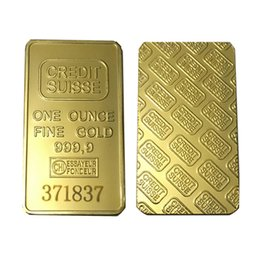 Ropa fina online-24 K 1 oz Credit Suisse Gold Bullion Clad Bar Una onza Fine Gold 999.9 Réplica de monedas de recuerdo con diferentes números de serie