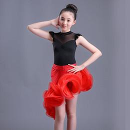 Trajes de salsa para crianças on-line-Crianças dança de salão desgaste Salsa Tango Rumba Samba Costume lace crianças vestido de dança latina profissional para meninas saia flamengo