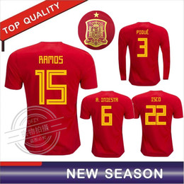 Wholesale Spain Long Sleeve - Top quality 2018 Spain home red soccer jersey 2018 ISCO A.INIESTA RAMOS Spain Long sleeves football shirts