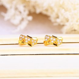Wholesale Cz Hoops - Wholesale Earrings Hoop Not Fade Heart For Women Top Fashion AAA CZ Classic Wedding Dressed 24K Gold Plated Fine Jewelry Free Shipping