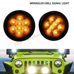 Wholesale Led Grill Lights Amber - Free shipping 2pairs smoke clear amber LED turn signal lights for Jeep Wrangler JK 07-15 marker parking front grill turn light kit