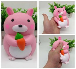 Wholesale pink rubber doll - Jumbo Kawaii Pink Rabbit Hold Carrot Squishy Slow Rising Buny Doll Squeeze Stress Reliever Gift DDA209