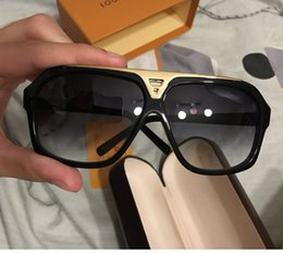Wholesale gold cat sunglasses - Top quality fashion Luxury brand evidence sunglasses men women brand designer retro vintage sun glasses shiny gold frame with box and cases