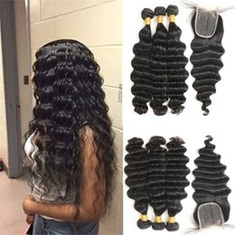 "Wholesale Deep Wave Bundle Hair - Indian Loose Deep Wave 3 Bundles with Closure 100% Unprocessed Indian Virgin hair Loose Deep with 4""x 4"" lace Closure Free Shipping"