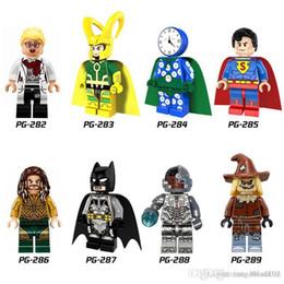 Wholesale Wholesale Mini Clocks - 120pcs Mix Lot Super Heroes Minifig Loki Spider Man Captain America Scarecrow Watch and clock man Figure PG8068 Mini Building Blocks Figures