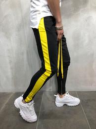Calle tira online-Mens High Street Clothing Negro Amarillo Rojo Side Strip Pantalones Elásticos Slim Fit Joggers Envío Gratis