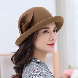 c357e9df63ad23 Female Autumn and Winter Woolen Hats Lady Party Formal Fedora Hats Women  Top Grade 100% Wool Felt Hat