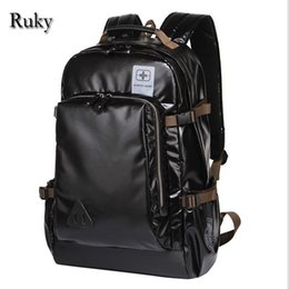 Wholesale Lap Bags - Wholesale- Leisure High Capacity Quality Men Backpacks Fashion High Grade Leather Designer Business Backpack Men's Schoolbag Travel Lap