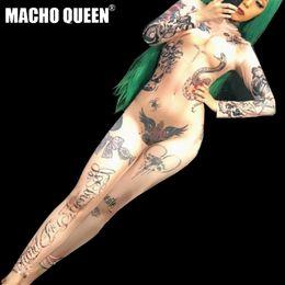 costume del robot Sconti Tatuaggio con stampa nuda Drag Queen Costumi Tuta Tuta Celebrity Runway Donna Outfit Birthday Party Wear