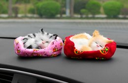 Wholesale sleeping cat plush - Car Ornament Plush Mini-nest Cat Decoration Cute Automobiles Interior Dashboard Simulation Sleeping Kittens Toys Home Furnishing