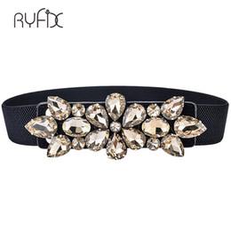 Argentina 2018 Cinturón elástico de diamantes de imitación de lujo cristal gema negro pretina femenina abrigos de piel abajo generación de cinturones de vestir para mujer BL239 cheap rhinestone elastic belts Suministro