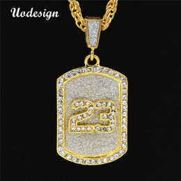 Wholesale circle gift tags - Uodesign Golden Bling Number 23 Tag Stars Rhinestone Necklaces Men Women Hip Hop necklace Charm Pendants Rock Jewelry Gift
