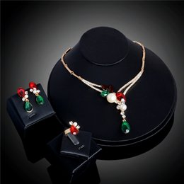 Wholesale Antique Jade Rings - SHUANGR Popular Unique Gold Color Green Red Crystal Necklace Ring Earrings Antique Pretty Jewelry Sets