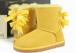 Бесплатная доставка высокое качество Австралия WGG 3280 классические высокие зимние сапоги из натуральной кожи Bailey бантом женщин Bailey лук снегоступы обувь загрузки от Поставщики дешевые блестками каблуки