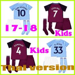 Wholesale Walker Wine - 17 18 kids home away soccer Jersey Kits socks KUN AGUERO STERLING Walker DE BRUYNE GUNDOGAN G.JESUS away Sane Bernardo child Football Shirts
