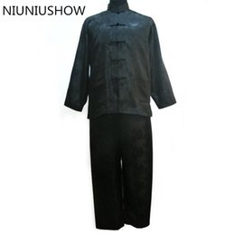 233a2530b7 New Black Men Satin Pajamas Set Chinese Traditional Pyjamas Suit 2PCS  Sleepwear Bath Gown Size M L XL XXL XXXL