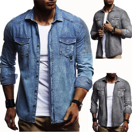 8283b426b54 2018 Men Washed Demin Shirts Long Sleeves Slim Fit Jean Shirts For Men  Cowboy Tees Tops Classic Casual Hombre Outerwear