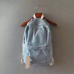 2019 mochila menina azul claro Colégio japonês vento denim mochila sólidos saco de viagem ocasional casal bolsa de ombro sacos de escola para meninas azul profundo e azul claro Y18110202 desconto mochila menina azul claro
