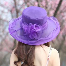 capa de chuva plástica Desconto Mulheres igreja chapéu de sol de aba larga cap vestido de noiva tea party floral beach caps verão anti-sol chapéu