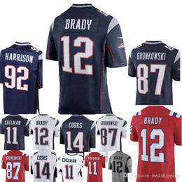 Wholesale patriots jersey xxl - New 12 Tom Brady 92 James Harrison Patriots Jersey Men 87 Rob Gronkowski 14 Brandin Cooks 11 Julian Edelman Jerseys Blue White Red