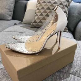 Canada PVC clair rouge bas talons hauts en cristal bout pointu Stiletto pompes luxe marque robe robe de soirée chaussures de mariage Offre