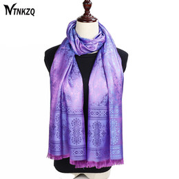 Wholesale Pink Paisley Pashmina - wholesale NEW 180*70cm Spring&Summer Paisley Silk Scarf Women Luxury Brand Long Scarves Shawl Tippet foulard cachecol hijab