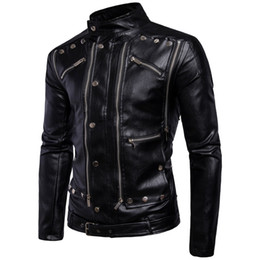 Wholesale Leather Jacket For Men Fashion - fashion warm winter black Men's outerwear long sleeve coats multi zipper cool PU leather jackets for men