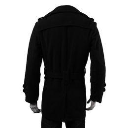 cardigan con cintura nera Sconti Inverno Uomo caldo Giacche Nero Grigio Faux Wool Trench Uomo Cardigan Abiti da lavoro Slim Fit con cintura Cappotto lungo Outwear Masculina
