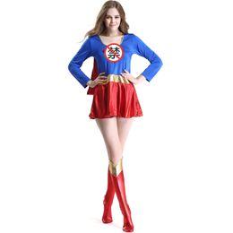 trajes de super-heróis de mulheres adultas Desconto Mulher Superhero Trajes de Halloween Adulto festival de carnaval Superwoman Trajes Cosplay Fancy Dress Outfit Super Girl Traje vestido Jogos
