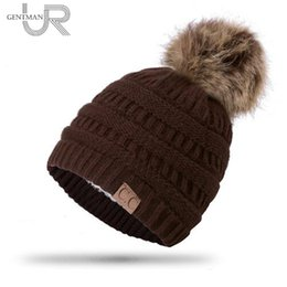 e68a69b6 High Quality Letter CC Beanies Add Wool Fur Lined Cap Pompoms Winter Hat  For Women Girl's Hat Knitted Warm Cap Dropshipping