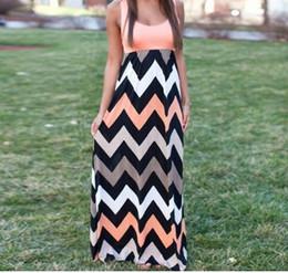agua una seda Rebajas Free shipping2017 Summer Women Big Swing Maxi vestido de raya de la onda larga vestido de verano colorido longitud del piso elegante Femme Vestidos
