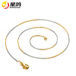 Wholesale 14k Gold Findings Wholesale - O Shape chain necklace for women men 1mm width 45 50 55 60 70cm double color personalzied copper jewelry finding chain for pendant