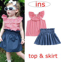 0e3957f9a8 INS summer girls grid lotus leaf collar outfits baby girl clothing 2pc sets  children red cotton tops + kids denim blue harem skirt 1-5years denim tutu  skirt ...
