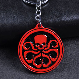 Wholesale Super Promotions - 2018 Hydra Logo Shield Metal Key Chain Super Hero The Avengers Captain America Octopus Keychain With retail packing