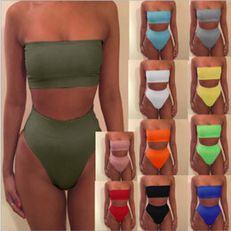 Wholesale Sexy Girls Bikini Suit - Solid color tube top two pieces women swimsuit sexy swimwear women mid waist girls bikini set female swimming set bathing suit