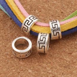 Wholesale rhodium silver jewelry - 310pcs lot Geometry Circle Spacers Big Hole Beads 8x8x4.2mm Antique Silver Fit European Charm Bracelets Jewelry DIY L1352 LZsilver