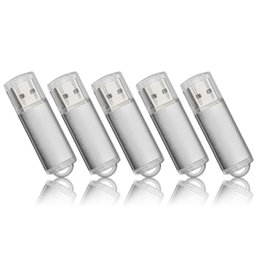 Wholesale 64 gb pen drive - Silver 5PCS LOT Rectangle USB Flash Drives Flash Pen Drive High Speed Memory Stick Storage 1G 2G 4G 8G 16G 32G 64G for PC Laptop Thumb Pen