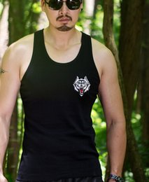 Wholesale mens vest t shirts - Mens Tank Tops Embroidery New Sleeveless T-shirts Gym Sports Muscle Bodybuilding Vest Male Tops