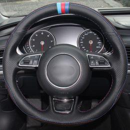 Черная Кожа Черная Замша Синий Красный Маркер Руль Обложка Для Audi A3 A5 A7 supplier a3 steering wheel от Поставщики a3 рулевое колесо
