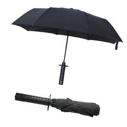 Wholesale sword katana samurai - Hot Sale Ninja Katana Samurai Sword Handle Sunny and Rainy Three Folding Umbrella for Men Semi-automatic Travel Umbrellas Black