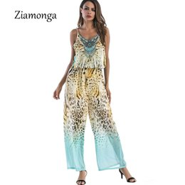 Wholesale Jumpsuits Women Leopard - Ziamonga Boho Leopard Print Chiffon Jumpsuit Romper Sexy V Neck Sleeveless Bow Tie Beach Playsuit Overalls For Women Clothing