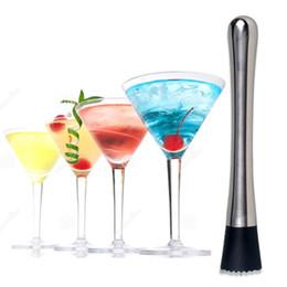 martillo de hielo Rebajas Nuevo Ice Cocktail Swizzle Stick Fruit Pestle Popsicle Sticks Acero Inoxidable Hammer Bar Herramientas de Vino Herramientas T3I0023