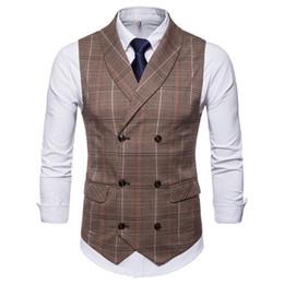 Chaleco marrón de negocios online-2018 Brown Tweed Chalecos Hombres Casual Slim Fit Hombres Chaleco Vestido formal de negocios Estilo de Inglaterra Chaleco Elegante Hombre