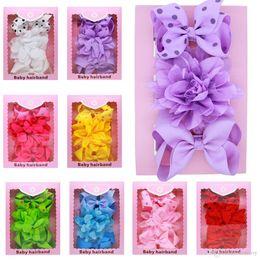 Wholesale baby gift packing - Baby Bow Headbands Lace 3pcs Set Girls Dot Grosgrain Ribbon Bowknot Headbands Flower Boutique Children Hair Accessories Gift Box Pack KHA569