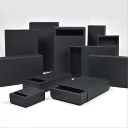 Doce de perfume on-line-Vários tamanhos de papelão Preto caixa de Papel caixas de Gaveta De Casamento Caixa de Papel De Embalagem de Presente Preto Para Jóias / Sabão / Cachecol / Doces / Perfume