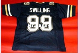 Wholesale Xl Tech - Men GEORGIA TECH YELLOW JACKETS #99 PAT SWILLING CUSTOM THROWBACK College Jersey size s-4XL or custom any name or number jersey