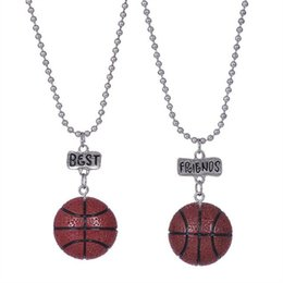 Wholesale Silver Basketball Charms - 12pair lot best friends necklace silver tone beautiful colorful basketball sport charm BFF necklace Children's day gift