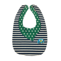 Wholesale double side bib - Striped Star Car Bowknot Double-sided Cartoon Buttons Baby Bibs Bibs Color: blue, white, green