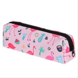 Nuovo sacchetto matita kawaii online-NUOVO Kawaii Pencil Case bag ragazza Fenicotteri in tela Forniture scolastiche Bts Cancelleria Regalo Estuches Scuola Cute Pencil Box Pen Bag 2018