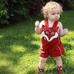 2019 meninos macacão vermelho Ins Nova Chegada de Verão Macacão Do Bebê Meninos Meninas Open-seat Calças Crianças Bordado Red Fox Shorts Moda Roupas Infantis meninos macacão vermelho barato
